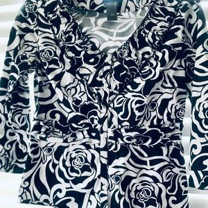 Ann Taylor Black and White Paisley Printed Top
